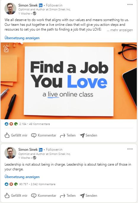Simon Sinek in LinkedIn